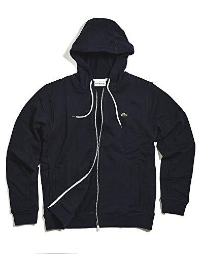 Lacoste Men's Classic Cotton Fleece Hooded Sweatshirt, Navy Blue/White, 5 by Lacoste