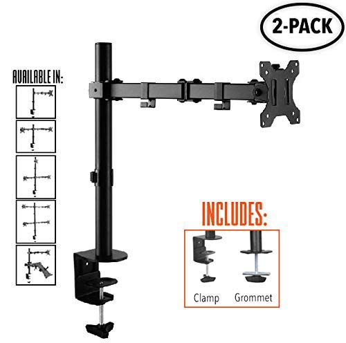 2-Pack Stand Steady Single Monitor Arm | Height Adjustable with Full Articulation | Clamp or Grommet Mounting Options | VESA Mount Fits Most LCD/LED Monitors (2 Pack - 1 Monitor Mount) by Stand Steady