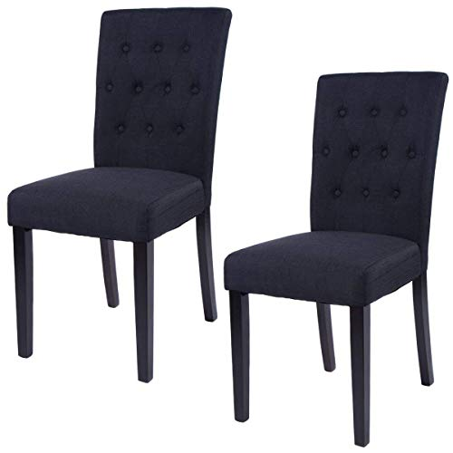 Casart 2PCS Dining Chairs Home Kitchen Button-Tufted Fabric Dining Chairs Armless Upholstered Chair (Black)