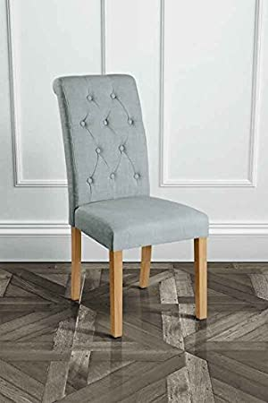 myfurniture u genoa u silla de comedor tapizada con respaldo reclinado gris con