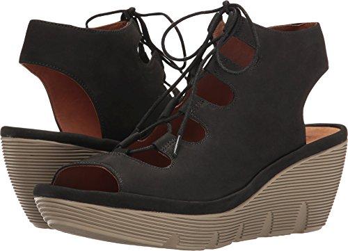- CLARKS Clarene Grace Womens Wedge Sandals Black Nubuck 9