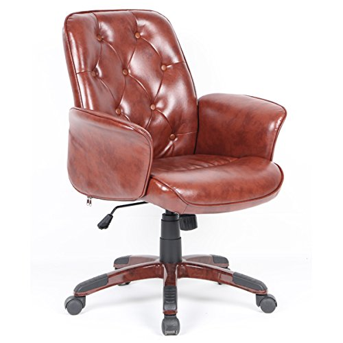 Sedia da Ufficio Braccioli Lounge Regolabile Rolling Brown Vintage PU Cuoio Plastica LeMonde