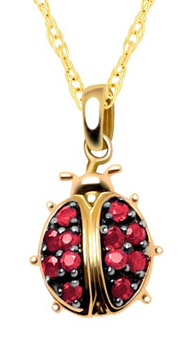 10k Yellow Gold Created Ruby Ladybug Pendant, 18""