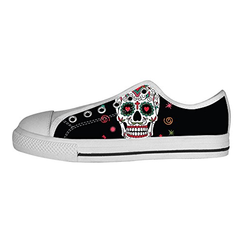 Custom skull Mens Canvas shoes Schuhe Lace-up High-top Sneakers Segeltuchschuhe Leinwand-Schuh-Turnschuhe E