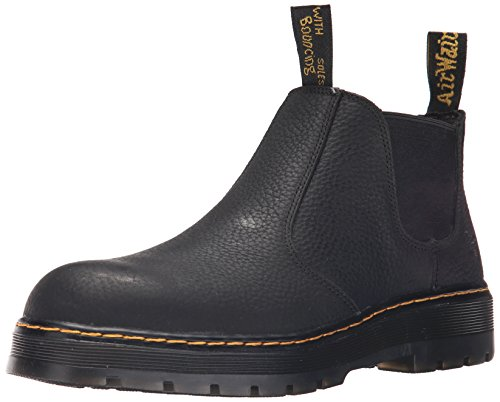 Dr. Martens Men's Rivet Steel Toe Work Boots, Black Leather, 10 M UK, 11 M US ()