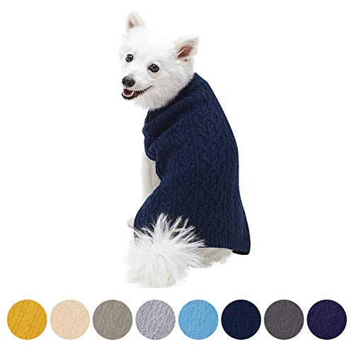 Blueberry Pet 16 Colors Classic Wool Blend Cable Knit Pullover Dog Sweater in Dress Blue, Back Length 14