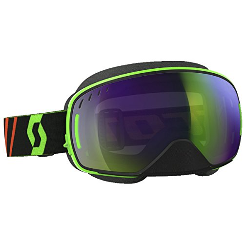 Scott LCG Adult Snowmobile Goggles - Black/Fluo Green/Chrome / One Size by SCOTT