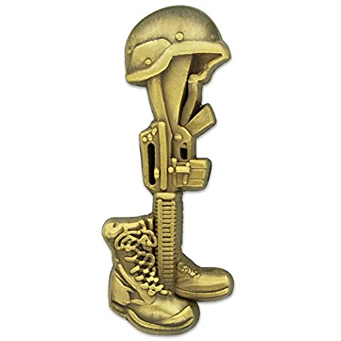 PinMart's Final Tribute Battle Cross Fallen Soldier Gold Lapel Pin (Fallen Soldiers Cross)