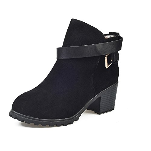 kle Straps Stacked Low Heel Ankle Booties (5.5, Black) (Belted Cowhide Belt)