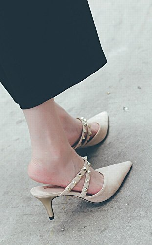 avec Baotou 36 Femme Rivets Chaussures des Talon Mulei Chaussures Abricot DHG des Femme avec Pointu à Fines Sandales 7TRzwp
