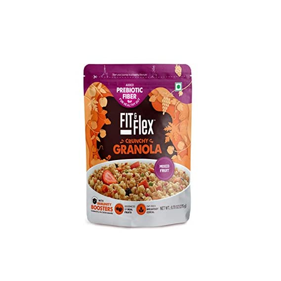 Fit & Flex Baked Granola - Oat Rich Breakfast Cereal with Real Freeze Dried Fruits - Mixed Fruit (275)