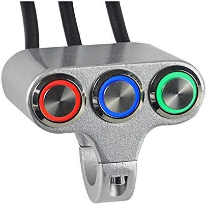 JPLJJ 22ミリメートル オートバイ スイッチ ハンドルバー マウント スイッチ用 ヘッドライト フォグライト オンオフ ハイロービーム付き インジケータライト (色 : Silver)