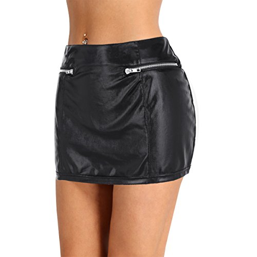 - iiniim Women's Faux Leather Zipper Short Mini Skirt Night Club Dress Black Fake Zipper Pockets M