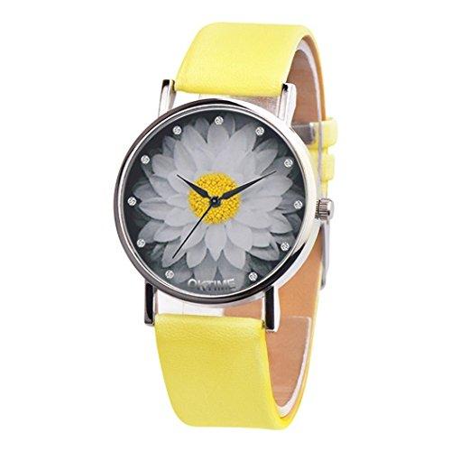Swyss Women Elegant Lotus Watch Leather Analog Quartz Round WristWatches Chic Charm Accessories New HOT Fashion (Yellow)