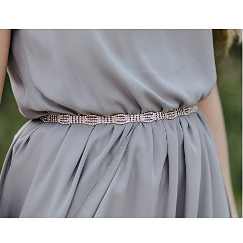 SWEETV Rhinestone Bridal Belt Wedding Dress Belt Crystal Headband Bride Bridesmaids Sash Belt, Rose Gold