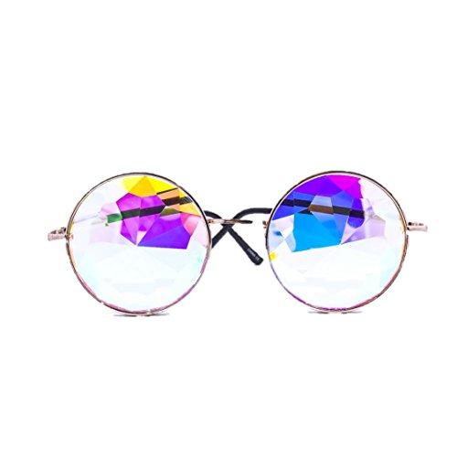 Kgb Costume Halloween (PREMIUM Gold Kaleidoscope Glasses - Best Festival EDM Diffraction Glass Lenses!)
