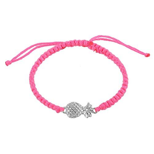 Handmade Adjustable Pineapple Charm Braided Thread Wrist Ankle Bracelets (Fuchsia)