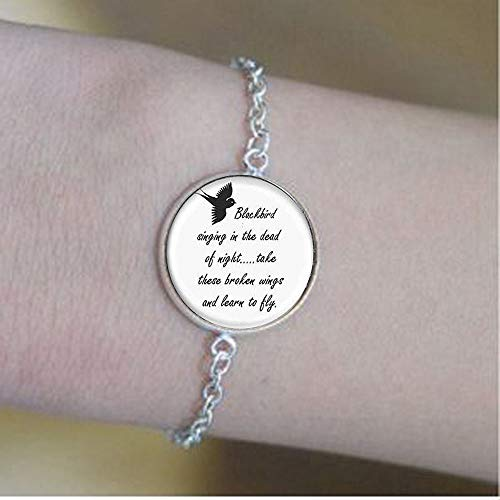 Blackbird Singing in the Dead of Night Pendant - Song Lyrics Art Jewel bracelets,Bible Quote Pendant - Christian Insect Art bracelets,bracelets,Unique bracelets Customized Gift,Everyday Gift bracelets