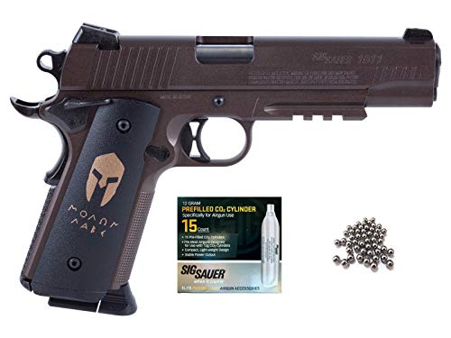(SIG Sauer 1911 BB Gun Air Pistol with CO2 12 Gram (15 Pack) Bundle (Spartan))