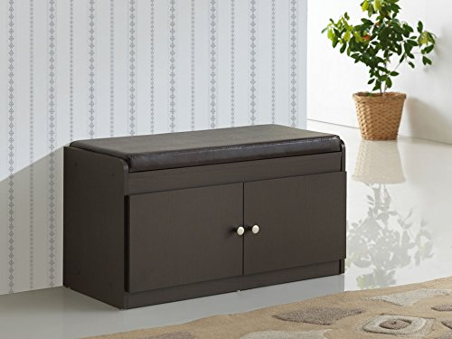 2 Door Contemporary Cabinet (Baxton Studio Margaret Modern & Contemporary Wood 2-Door Shoe Cabinet with Faux Leather Seating Bench, Dark)