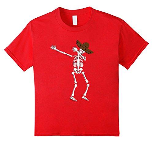 Kids Dabbing Skeleton Halloween Shirt Cinco de Mayo Gift 12 Red