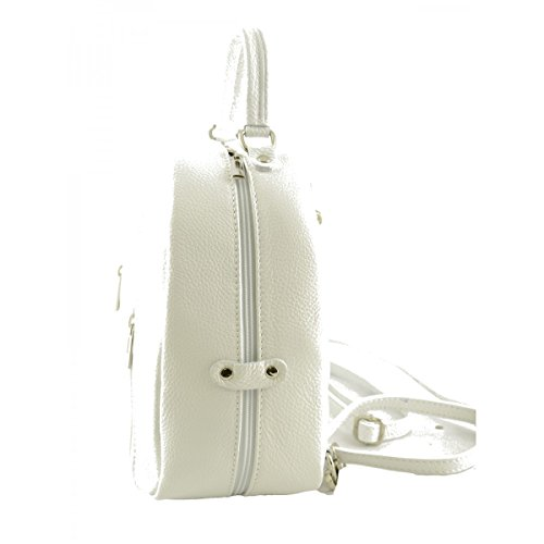 Zaino Donna In Vera Pelle Colore Bianco - Pelletteria Toscana Made In Italy - Zaino