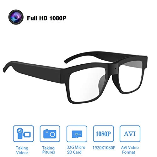 Camera Glasses 1080P,HD Video Glasses Max 32GB Memory Card - Eye Glasses with Camera - Wearable ()