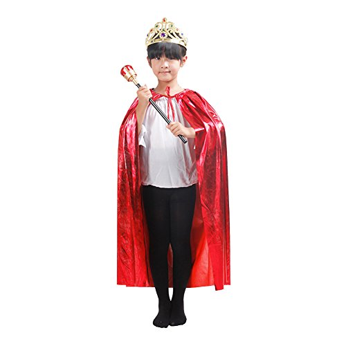 Halloween Cape Princess Role Play Medieval Costumes with Crown and Royal Scepter for Child Party Cosplay (Halloween Costumes Royal Princess)