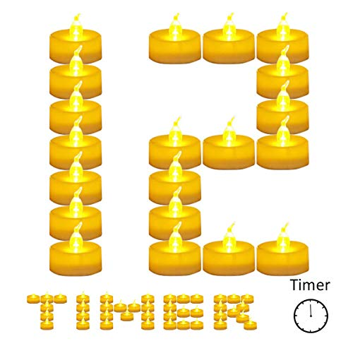 12 Pack Battery Timer Tea Lights for Christmas,6 Hours on and 18 Hours Off in 24 Hours Cycle,Warm Led Flicker Flameless Timer Candle,No fire Hazards Votive Candles for Wedding Party Christmas