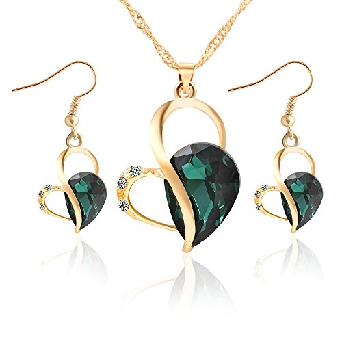 METTU Gold Hollow Heart Pendant Blue Green Purple Waterdrop Crystal Necklace Earrings Jewelry Set ()