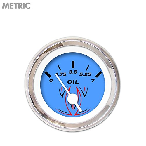 White Vintage Needles, Chrome Trim Rings, Style Kit DIY Install Aurora Instruments 6643 Pinstripe Blue Metric Oil Pressure Gauge