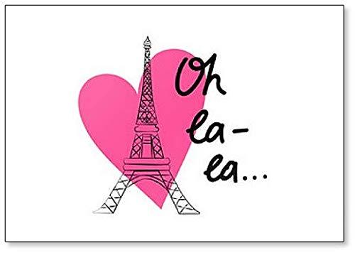 Ilustración de Torre Eiffel y Corazón Rosa Imán para nevera ...