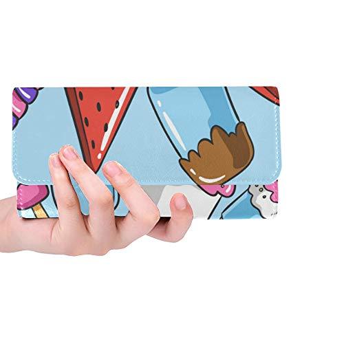 Unique Custom Summer Ice Cream Poster Text Women Trifold Wallet Long Purse Credit Card Holder Case Handbag