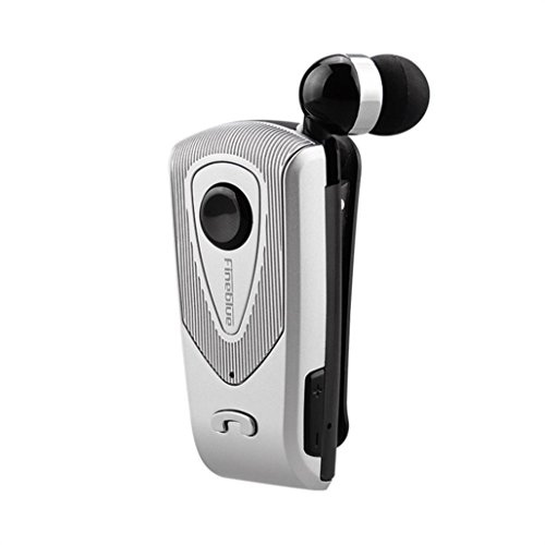 (Fineblue F-960 Retractable Wireless Bluetooth Portable Earphone,Tuscom Headphone Clip (Silver))