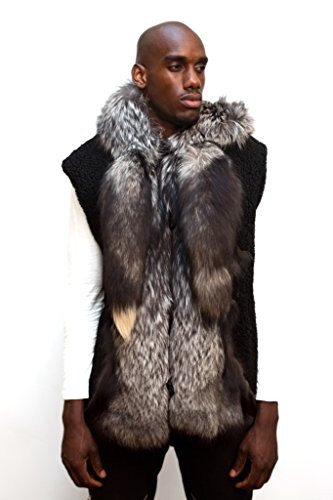 Jakewood Men's Winter Shearling Vest with Hood and Fox Fur Black color (Large, (Mouton Fur Coat)