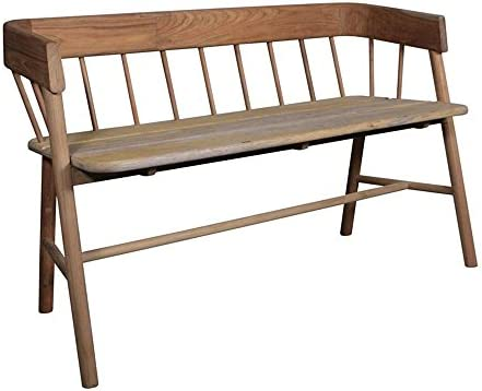 Teak Indoor Wooden Bench Seat In Natural Finish Amazon Co Uk Kitchen Home