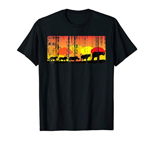 Africa Big Five Animals Distressed T-Shirt | BIG 5 of Africa (Safari Big Shirt)
