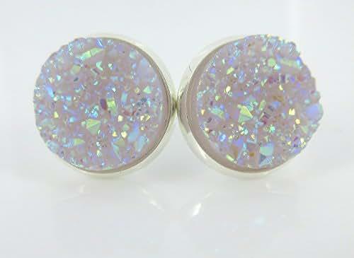Silver-tone Lilac Purple Faux Druzy Stone Stud Earrings 12mm