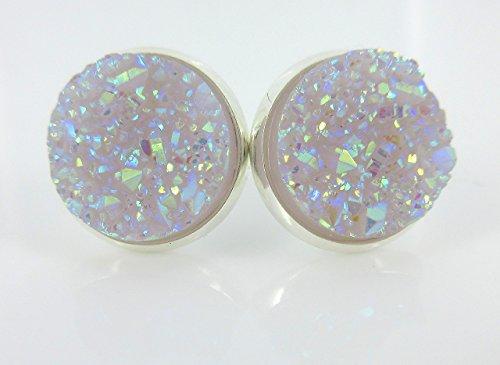 Silver-tone Lilac Purple Faux Druzy Stone Stud Earrings 12mm (Earrings Purple Yellow)