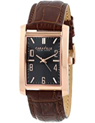 Caravelle New York Mens 44A104 Analog Display Japanese Quartz Brown Watch