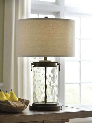 Traditional Glass Table Lamp in Clear and Bronze