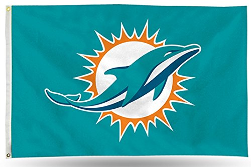 (Miami Dolphins Rico LOGO Only 3x5 Flag w/grommets Outdoor House Banner Football)