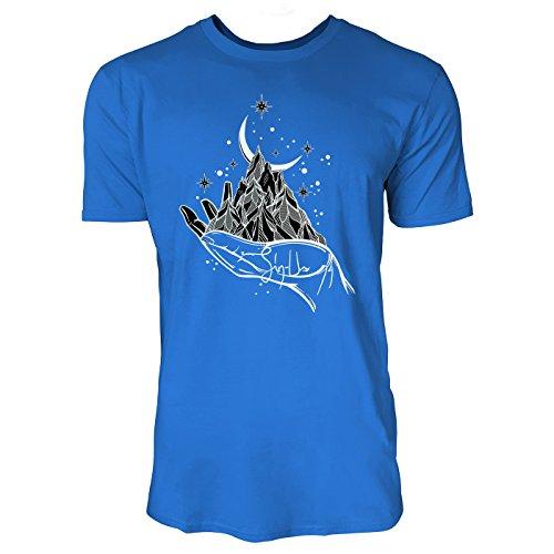 SINUS ART ® Gebirge mit Halbmond auf Hand Herren T-Shirts in Blau Fun Shirt mit tollen Aufdruck