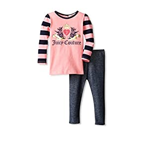 Juicy Couture Girls Juicy Crown Dog Logo Top Shirt & Leggings Set (3 - 6 Months)