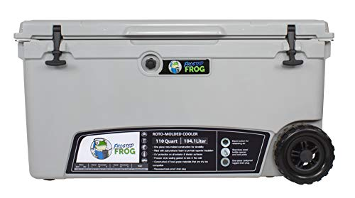 Frosted Frog Gray 110 Quart Ice Chest Heavy Duty High Performance Roto-Molded Commercial Grade Insulated Cooler with Wheels