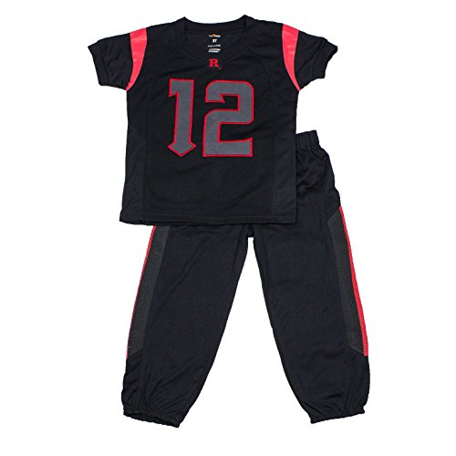 (FAST ASLEEP NCAA Rutgers Scarlet Knights Boys Toddler/Junior Football Uniform Pajamas, Size 4T, Black/Red)