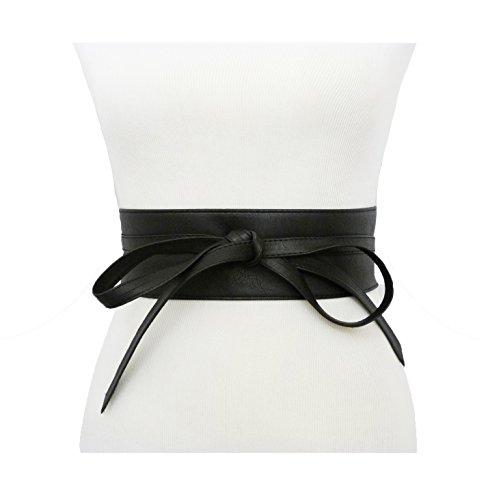 Women's Wide Lace, Faux Leather Self Tie Wrap Obi Waist Belt (2 Style) (Black)