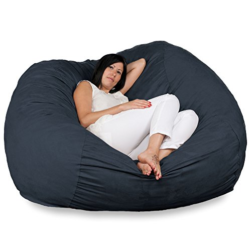 FUGU Large Bean Bag Chair, Premium Foam Filled 5 XL, Protective Liner Plus Removable Machine Wash Black Cover ()