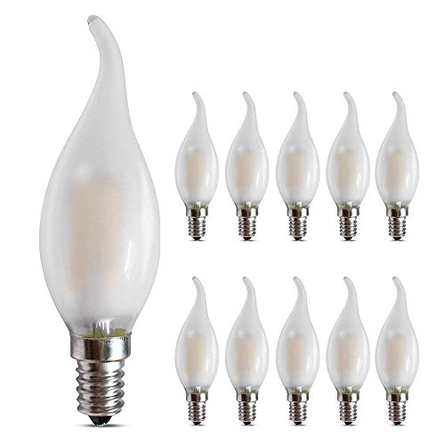 (Dimmable Candelabra led Bulbs Frosted 4W 2700K E12 Base LED Filament Chandelier Light Bulbs 40W Equivalent, Warm White,360° Beam Angle, Flame Tip, Vintage Decorative Candle Light Bulb,10 Pack)
