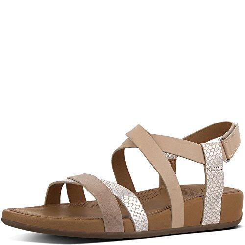 (FitFlop Women's Lumy Crisscross Sandals Peachy/Silver Snake 9 M US)